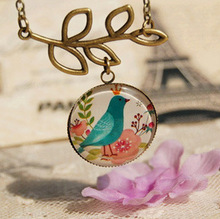 nostalgic retro glass Cabochon hollow  leaves bird necklaces & pendants 2015 handmade colar vintage jewelry accessories(China (Mainland))