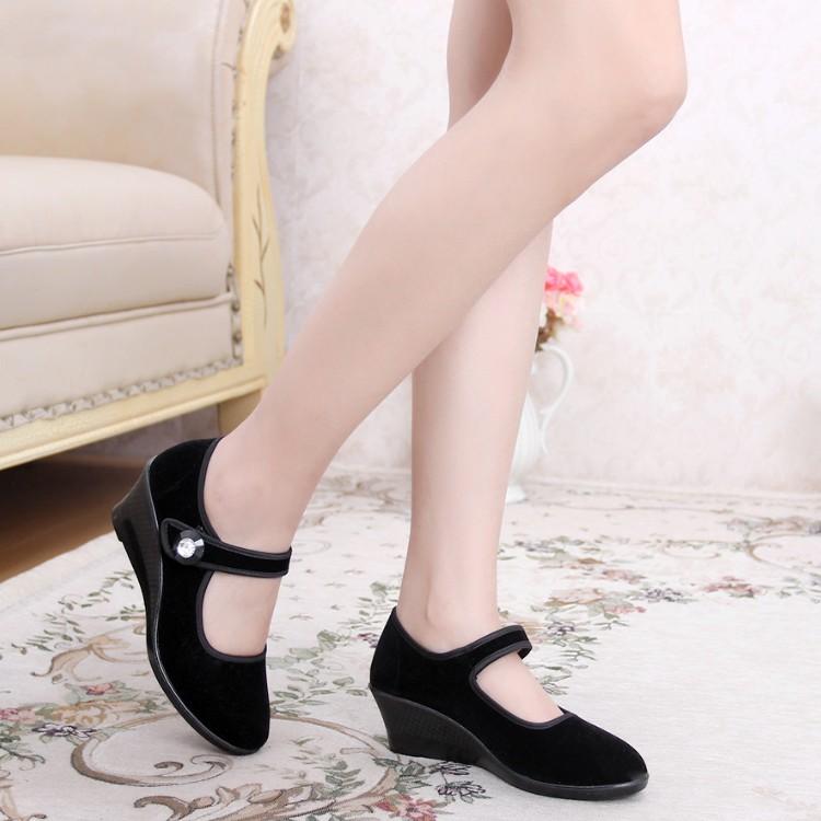 Old Beijing shoes slope with soft bottom shoes black shoes velveteen dance etiquette work shoes shoes Asakuchi<br><br>Aliexpress
