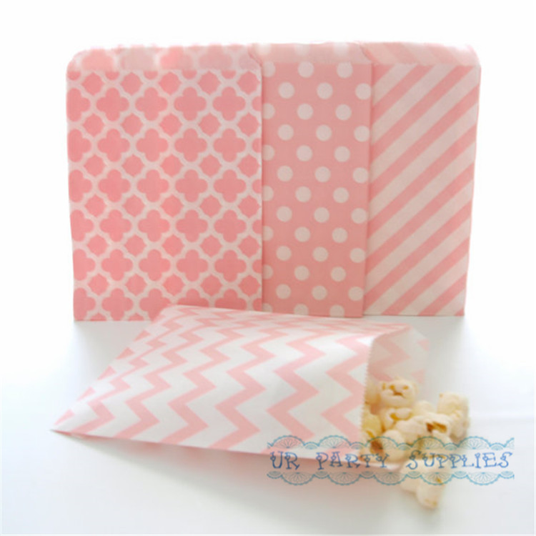 500pcs Baby Pink Paper Party Bags Stripe Chevron Flower Forms Polka Dot Bulk Party Supplies Candy Buffet Wedding Favor Bags(China (Mainland))