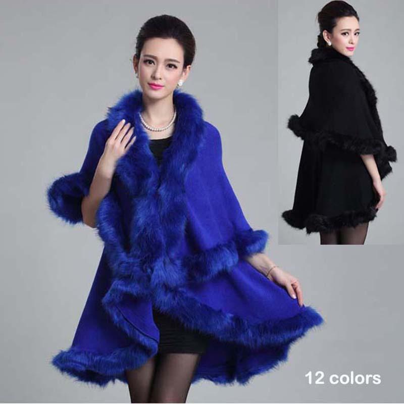 New Fashion Noble Long Wool Cashmere Imitation Fox Fur Coat Women Cardigan Faux Fur Poncho Shawl Outer Garment Winter(China (Mainland))