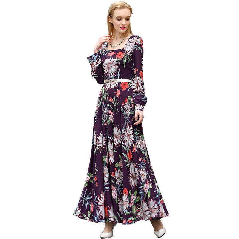 Women Plus Size Maxi Dresses 2016 Spring Summer Elegant Purple Floral Print Long Sleeve Dress Vestito Lungo Chiffon 2460(China (Mainland))