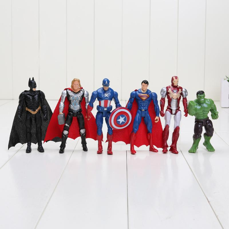 6pcs/set 10cm The Avengers figures super hero toy doll hulk Captain America superman batman thor Iron man Free Shipping(China (Mainland))