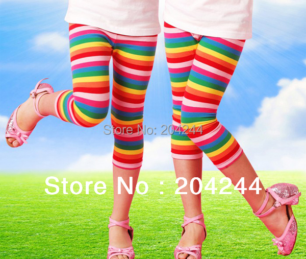 SALE Exclusive 2015 new design! Free shipping 6pcs/lot high quality seven rainbow stripe cropped pants leggings for girls