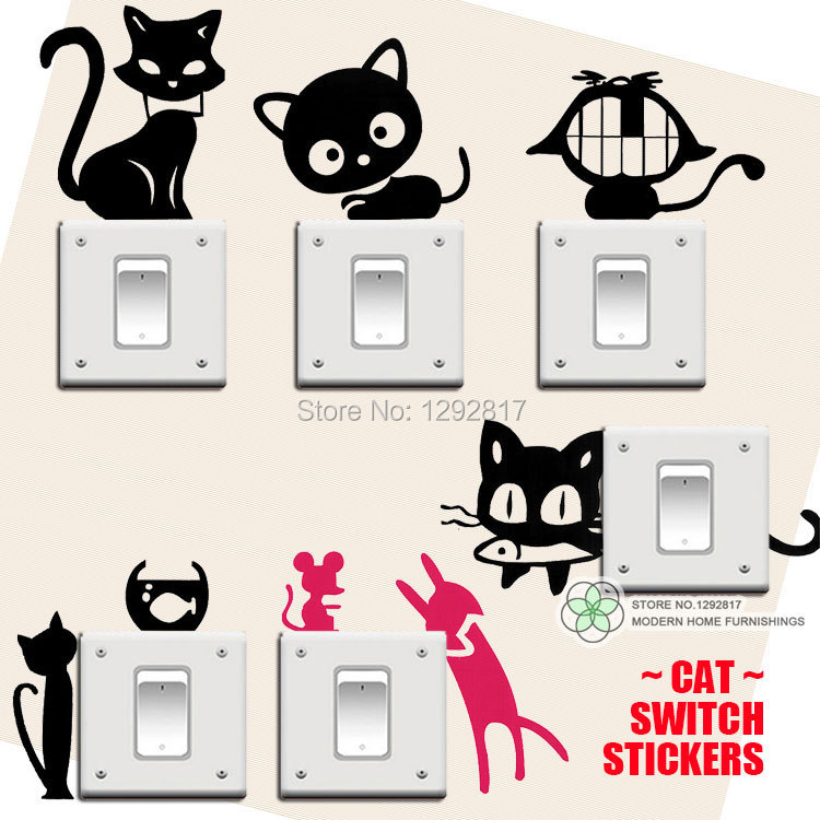 Cat Switch Stickers,Removable Wall Stickers decorative Kids Room Home Decoration Wholesales,Free Shipping,custom, 7pcs/lot(China (Mainland))