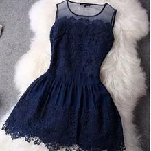 HZLQ4465  2016 Big Stitching Lace Dress Sleeveless Vestidos Evening Mini Sexy Women Summer Dress(China (Mainland))