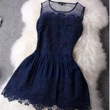 Платье HZLQ4465 кружево Мини без рукавов лето, большой шитьё Жилетidos вечер сексуальный ...