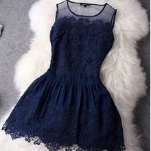 HZLQ4465 2016 Big Stitching Lace Dress Sleeveless Vestidos Evening Mini Sexy Women Summer Dress