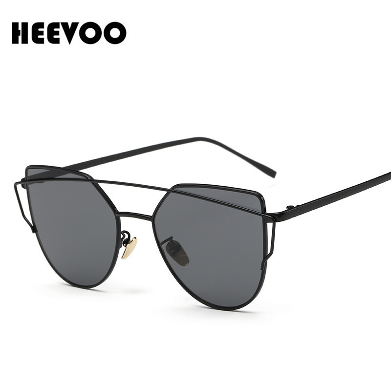 HEEVOO Polarized Women Cat Eye Sunglasses Classic Brand Designer Twin-Beams Sunglasses Coating Mirror Flat Panel Lens UV400(China (Mainland))