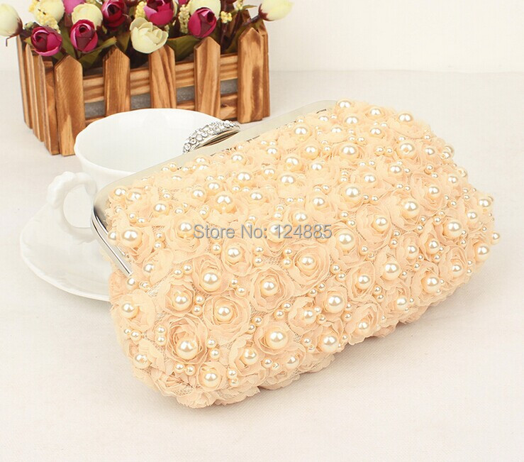 Women Pearl clutch evening bag lace rose day clutch evening bag banquet bags 50063(China (Mainland))