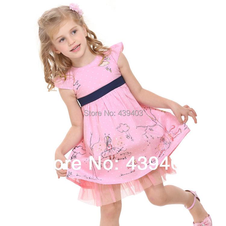Free shipping summer fashion NOVA children's clothes girls sweet pink embroidery dress, cartoon flowers dot girl princess dress(China (Mainland))