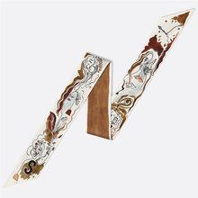 Bufanda de seda de 26 letras para mujer, diseño de marca de lujo, bufandas delgadas, sombreros estampados de moda, bolsa larga, accesorios, pañuelo de cinta(China)