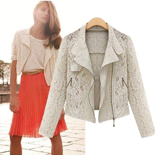 Полный рукав кружева из куртки для женщин весной atumn полупальто платья белый черный ...