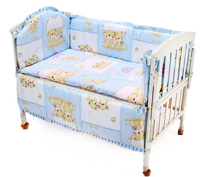 Promotion! 8PCS Crib Sheets,Baby Cot Bedding Set Newborn Cartoon Crib Bedding (bumper+sheet+pillow cover)<br><br>Aliexpress