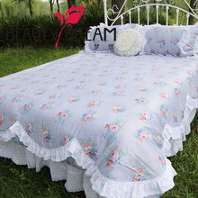2015 new rustic bedding set vintage fashion dobby print bedroom bedding tencel lace duvet cover bed skirt bedspread 4pcs/set(China (Mainland))