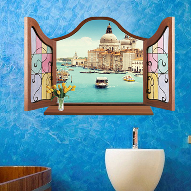 Hot style popular mickey carol Europe type 3 d fake window water sitting room the bedroom of Venice background wall stickers(China (Mainland))