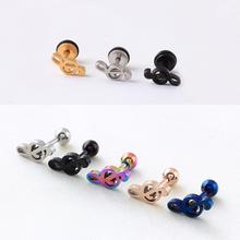 titanium Steel Treble Clef Music Note Ball Men Women Unisex Ear Piercing stud Earrings 2pcs(China (Mainland))