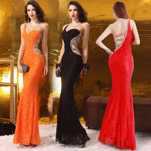 Buy Sexy Lace Sweetheart Mermaid Evening Dress 2017 Beading Hollow Back One-Shoulder Prom Dresses Sweep Train Long Party Dresses W4 for $149.46 in AliExpress store