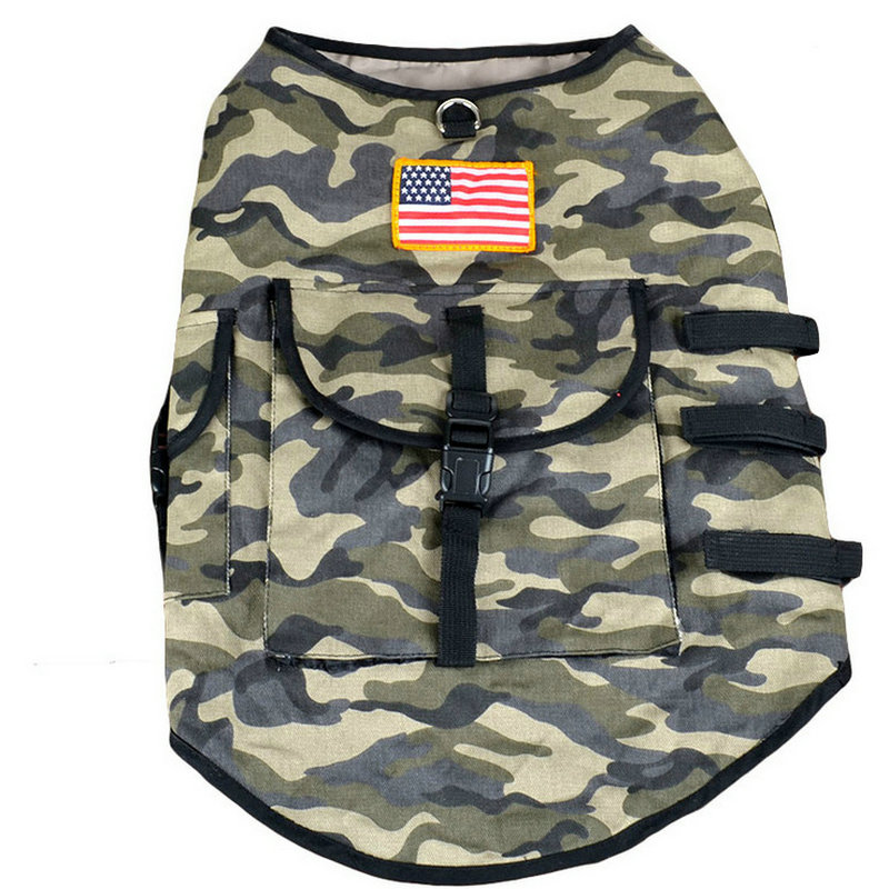 Multi Function Camouflage Dog Vest With Pocket USA /British Flag Vest Clothes For Dog(China (Mainland))