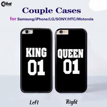 King Queen 01 Brand Couple Case hard plastic mobile phone cases Cover for iphone 4s 5s 5c 6 6s 6plus 6splus sony z1 z2 z3 z4 z5