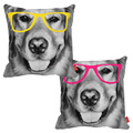Funny Face Black and white Golden Retriever Glesses Print Decorative Throw Pillowcase Pillow Case Cushion Cover