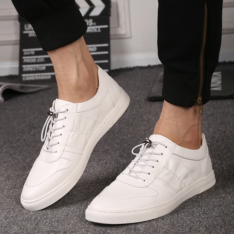 The new European white elastic leather shoes male Korean tide low head white shoes men's casual shoes(China (Mainland))