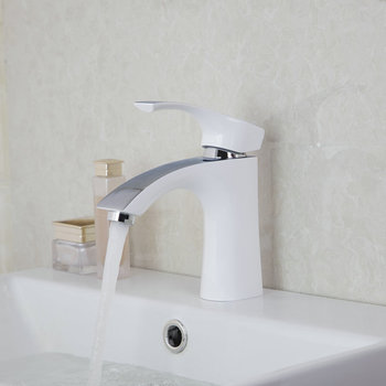 White Painting Solid Brass Bathroom Sinks Faucets Mixers Taps New Desig