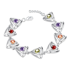 Exquisite Vogue 100% Pure 925 Sterling Silver Lady Gift Jewelry Shiny MultiColored CZ Diamond Natural Zircon Stone Bracelets