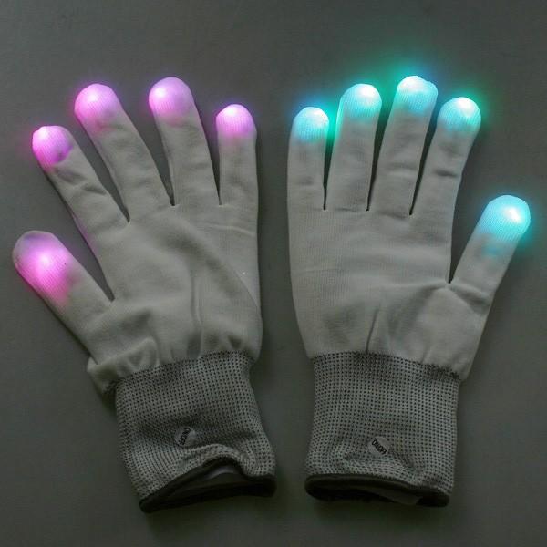 7 Mode LED Rave Light Finger Lighting Flashing Glow Gloves White(China (Mainland))