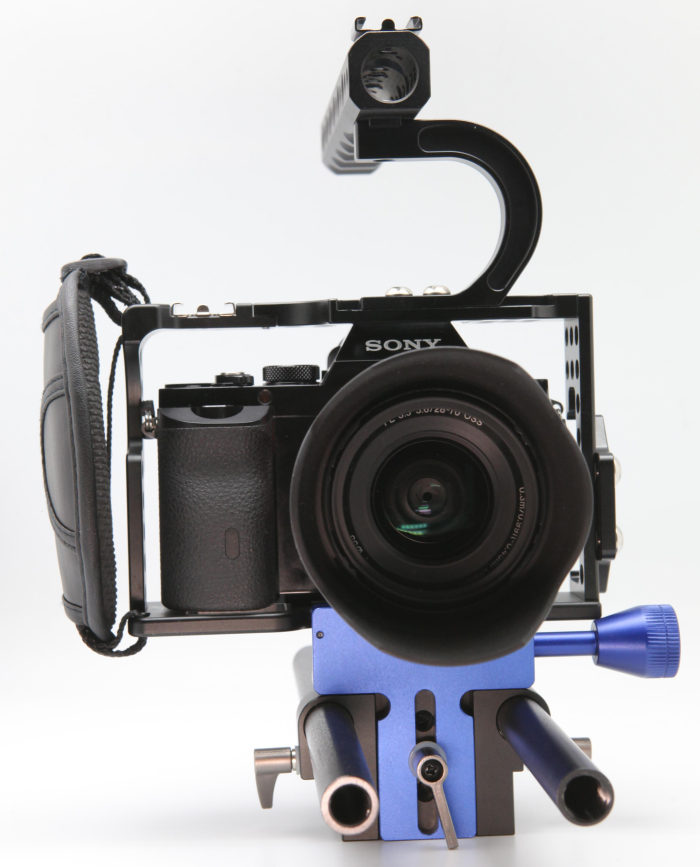 Low Shooting Top Handle Camera Cage Grip Bracket with two Rob block Rig and hand Strap for Sony A7s A7R A7ii Camera(China (Mainland))
