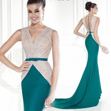 Sexy 2015 Popular Fashionable New Style Pink And Green Mermaid Evenning Dress V-Neck Long dress Bow 2016 Robe De Soiree(China (Mainland))