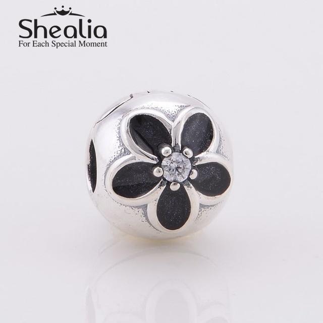 Shealia черной эмалью цветы блокировка клип подвески с четкими cz 925 серебряное ювелирных украшений для женщин браслеты diy ER353