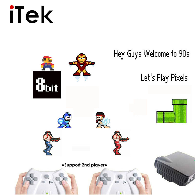 Free Shipping 8bit Video Game LCD Projector Console Built in 180 Games with 2 Gamepad Support 2nd Player(China (Mainland))