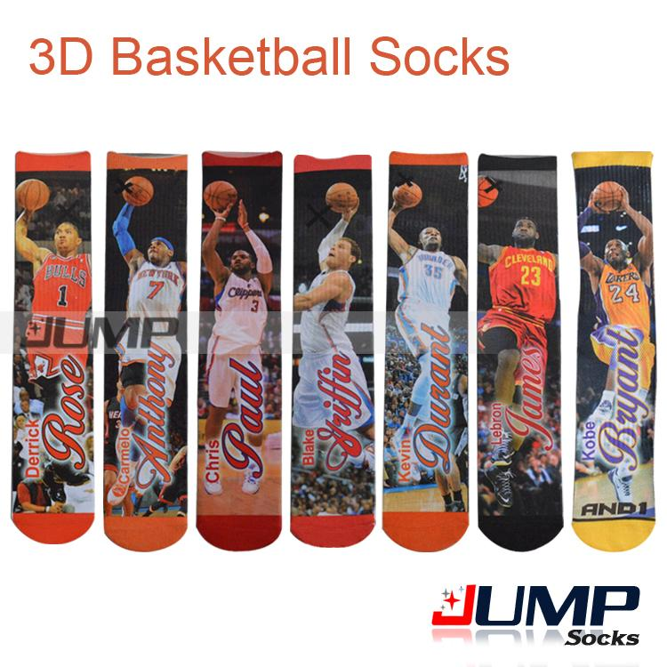 2015 summer style Fashion harajuku 3d Printed basketball socks Men&Women Hip Hop Skateboard High sport Socks(China (Mainland))