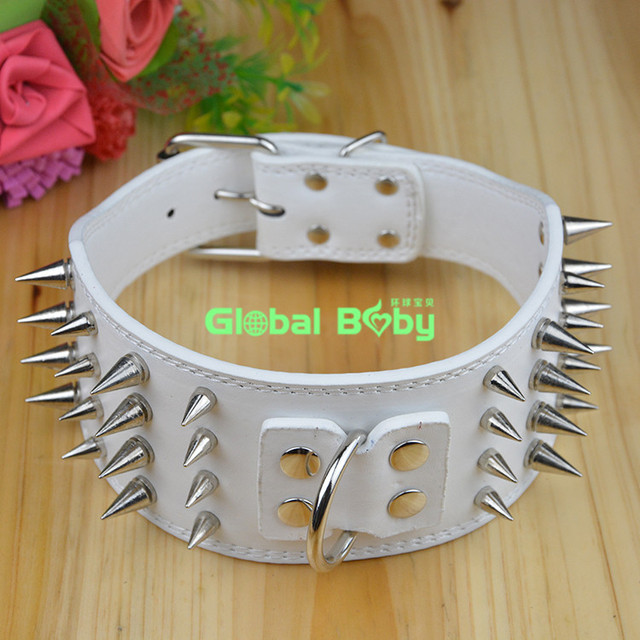 100% High Quality PU Leather Pet Dog Collar with Four Rows Sharp Spikes Big Dog Pitbull Necklace Collar