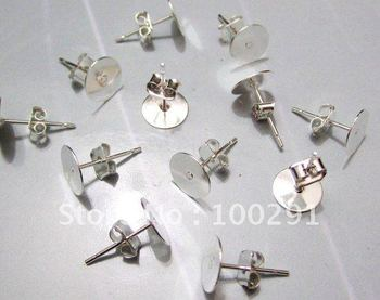 Free shipping!!!1000piece/lot With Round 8mm Pad Silver plated Earring post with stopper back NICKEL FREE Jewely findings