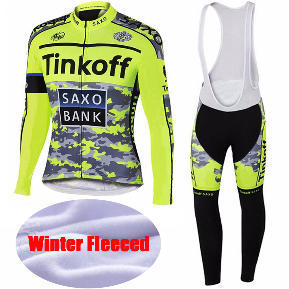 2016 Winter Thermal Fleece Flour yellow Saxo Bank Tinkoff Cycling Jerseys/Bicycle Sportswear Ropa Ciclismo Cycling Jerseys(China (Mainland))