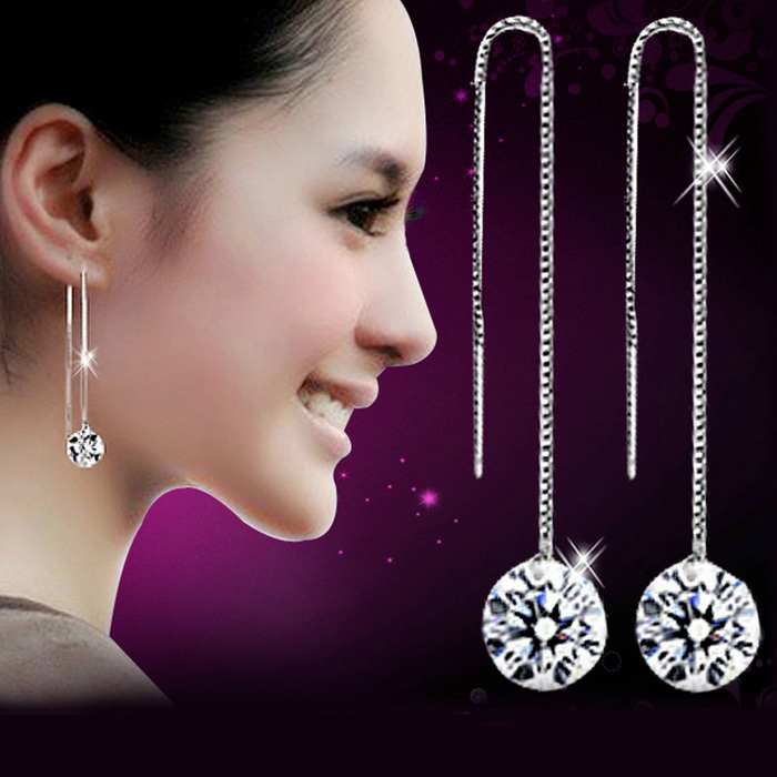 925 Sterling Silver Crystal Round Hook Long Dangle Earrings Earring Pendant,Jewelry Wholesale EX1102(China (Mainland))