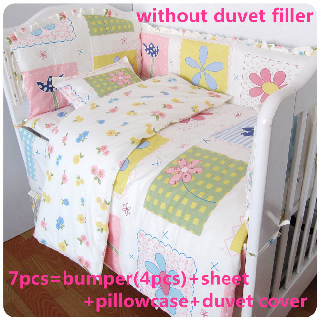 Promotion! 6/7PCS baby bedding set curtain crib bumper baby cot sets baby bed ,120*60/120*70cm<br><br>Aliexpress