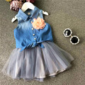 Jean shirt yarn skirt for girl clothes with flower clothing set children clothes kids girl summer
