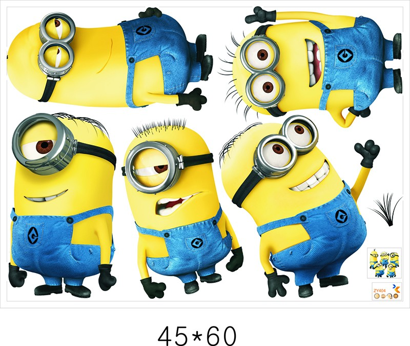 Minions movie wall stickers for kids room home decorations pvc cartoon decals children gift 3d mural arts posters