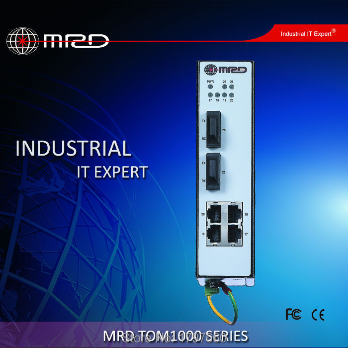 MRD Industrial Ethernet Switch TOM1000-BHD2004G5 Full WEB/SNMP managed 4 100M TX ports +2 fixed Gigabit optical ports(China (Mainland))