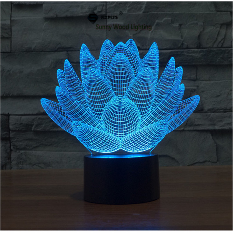 Lotus flower touch switch LED 3D lamp ,Visual Illusion 7color changing 5V USB for laptop, desk decoration toy lamp(China (Mainland))