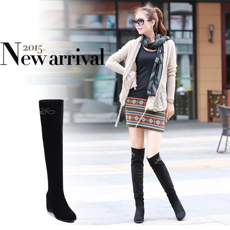 Nubuck High Heel Round Toe Rubber Korean Version Overknee Flat Platform Stretch Matte Wedge Women Single Boots 2015 Casual<br><br>Aliexpress