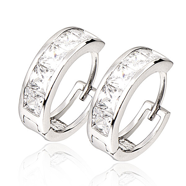 Vintage Women Round Cubic Zirconia 18K White Gold Plated Earrings White Stone Crystal Luxury Hoop Earring Jewelry Wholesale(China (Mainland))
