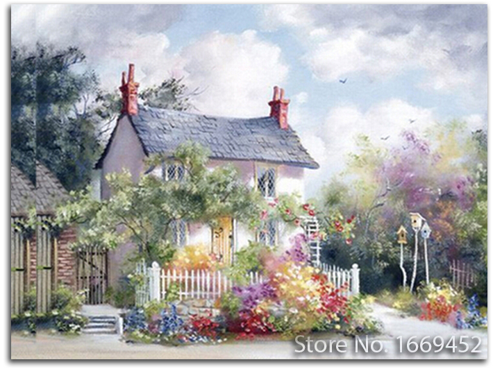 5d DIY diamond embroidery scenic Fairy cottage cross stitch kits needlework home decoration beads embroidery patchwork picture(China (Mainland))