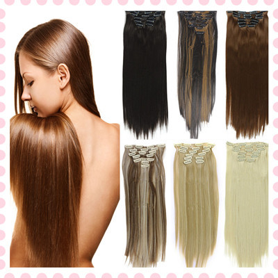 Wholesale Clip In Hair Extensions 7pcs/set Synthetic Straight Hair Pieces Natural Hair Extension False Hair On Clips Hairpiece(China (Mainland))