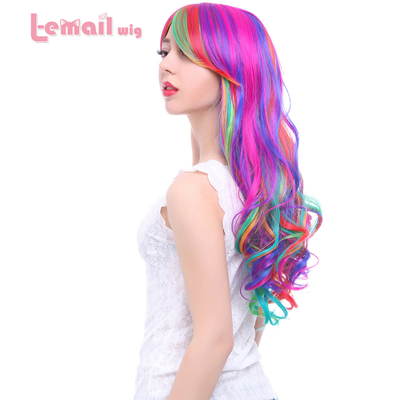 Synthetic Cheap 70cm Long Rainbow Rock Spring Bouquet Women Wavy Colorful Cosplay Hair Wig(China (Mainland))
