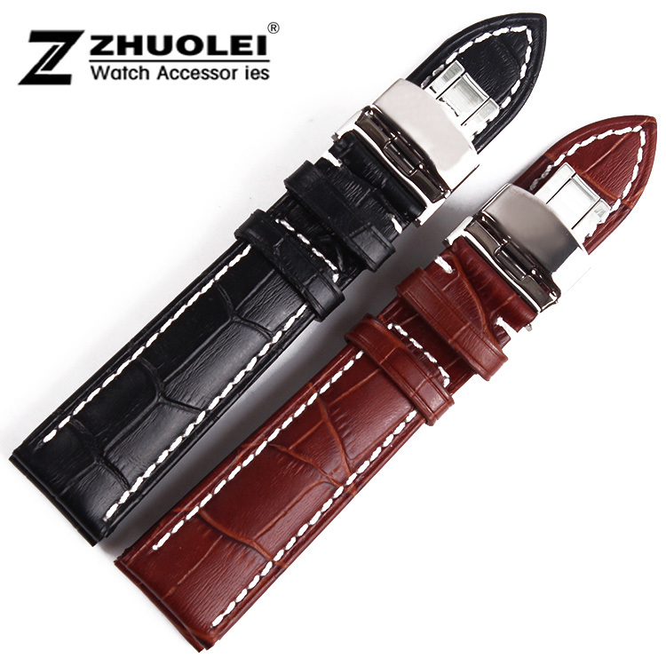 2014 New Arrival 18mm 20mm 22mm New High Quality Black Genuine Leather Watch Band Strap Deployment Steel Buckle Wrist Watch Band