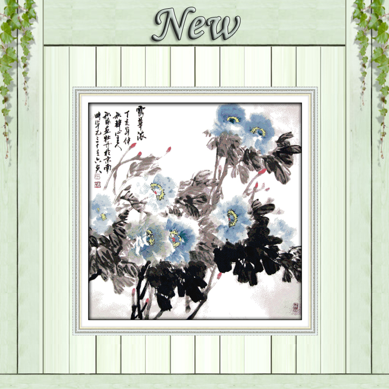 Flowers bathing in the dew paintings counted printed on canvas DMC 14CT 11CT chinese Cross Stitch Needlework Set Embroidery kits