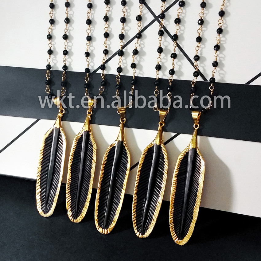 New exclusive! Wholesal black bone feather necklace with rosary chain, Mystick charm rosary feather necklace<br><br>Aliexpress